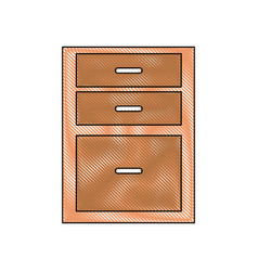 Drawing drawers from wooden cabinet image vector