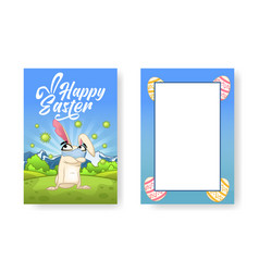 easter bunny is standing in nature wearing a face vector image