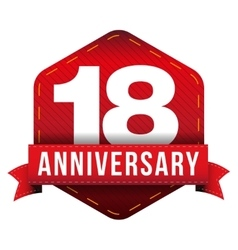 Eighteen year anniversary badge with red ribbon vector image