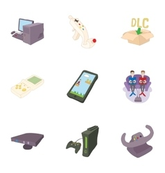 Fantasy games icons set cartoon style vector