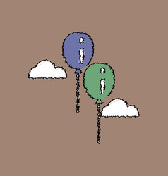 Flat shading style icon two balloons in sky vector