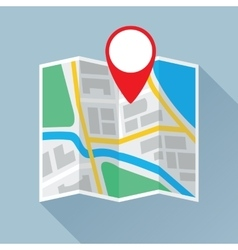Folding Paper Map with Location Mark Flat Icon vector