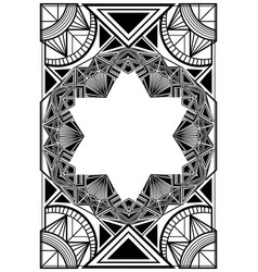 Frame art deco black and white vector