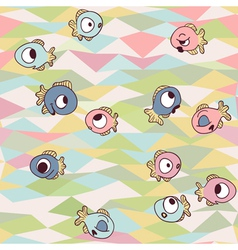 Funny fishes on seamless geometric background vector image