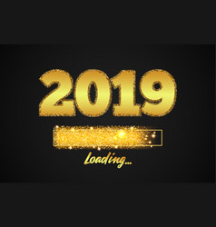 golden loading bar showing progress new year vector image