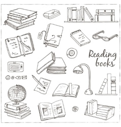 Hand drawn doodle Books Reading set vector image