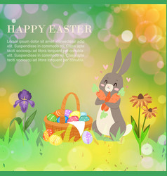 happy easter card with cute bunny barabbit and vector image