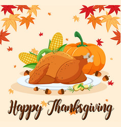 Happy thanksgiving feast scene vector