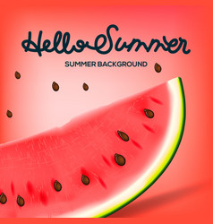 hello summer inscription watermelon vector image