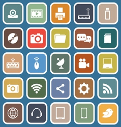 Hi tech flat icons on blue background vector image