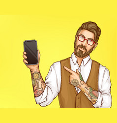hipster man pointing on cellphone in hand vector image