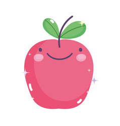 kawaii gardening cartoon cute happy apple fruit vector image