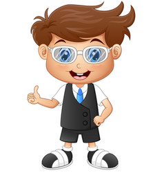 Little boy wearing glasses giving thumbs up vector
