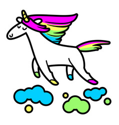 Magic unicorn in the clouds vector
