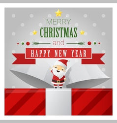 Merry Christmas and Happy New Year greeting card 1 vector image