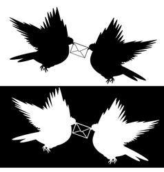 Monochrome silhouette of two doves with a letter vector image vector image