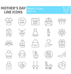 mothers day thin line icon set motherhood symbols vector image