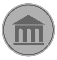 Museum building silver coin vector