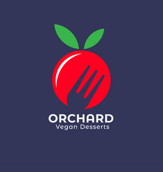 Orchard icon vegan desserts logo ripe red fruit vector