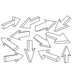 outline arrows straight signs vector image