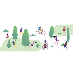 people walk and relax in park outdoor vector image
