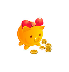 pig and coin financial deposit concept vector image