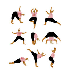 Plus size curvy woman in yoga positions set plump vector