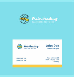 protected internet logo design with business card vector image