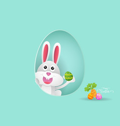 rabbit or bunny with easter egg vector image