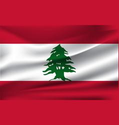 realistic waving flag lebanon vector image