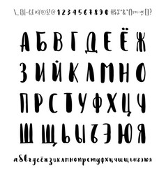 Russian font cyrillic letters numbers vector