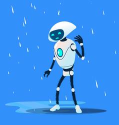 sad brocken robot on rain isolated vector image
