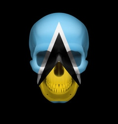 Saint lucian flag skull vector