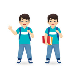 school asian boy vector image