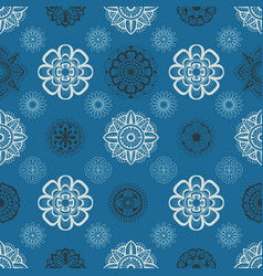 seamless pattern with floral element henna style vector image