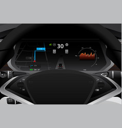 Self driving electric car dashboard vector
