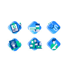 set icons with x-ray man with broken hand pill vector image