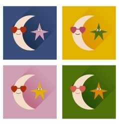 Set of flat icons with long shadow moon star vector