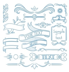 Set of vintage ribbons frames and elements vector