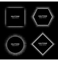 Set of White Abstract Halftone Circles vector