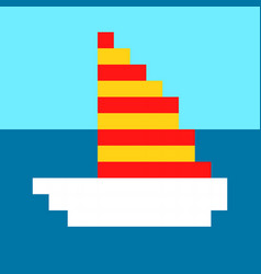 ship yacht boat pixel art cartoon retro game style vector image