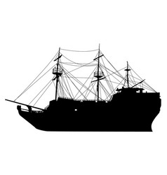 silhouette an old sailing ship on a vector image