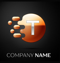 silver letter t logo gold dots splash and bubble vector image