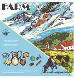 sketch farm colorful template vector image