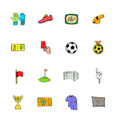 Soccer icons set cartoon vector