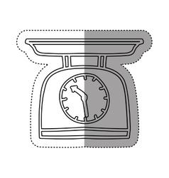 Sticker silhouette kitchen weight scale icon vector