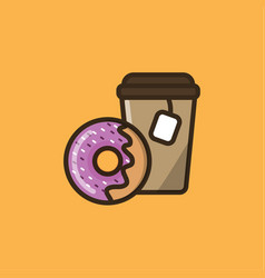 tea drink and donut vector image