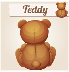 Teddy bear sits back Cartoon vector image