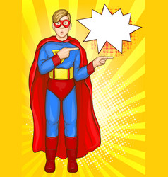 Teenager in superman suit pointing fingers vector