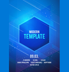 template with glow lines geometric shapes vector image